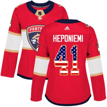 Authentic Adidas Women's Aleksi Heponiemi Florida Panthers USA Flag Fashion Jersey - Red
